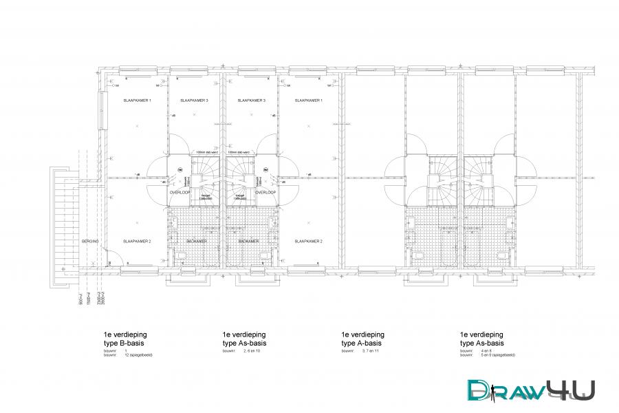1e verdieping 12 rijwoningen te Beverwijk